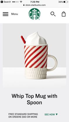 Starbucks Store, Starbucks Coffee, Whipped Topping, Spoon, Mugs, Tableware, Gifts, Gift Ideas, Christmas