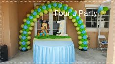 Baby Mickey Mouse Decorations www.fourjparty.com #fourjparty #bounce #tent #decoration #waterslide #party #baby #miami #hialeah #weeding