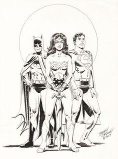 , in Steve Lipsky's Jerry Ordway Gallery Comic Art Gallery Room Dc Trinity, Batman, Superman Comic, Mythology, Comic Art, Science Fiction, Illustrators, Dc Comics, Art Gallery