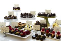 Chocoate cupcakes, cake, tarts, truffles - chocolate dessert table #wedding…