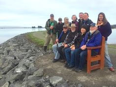 """Mad River Union ARCATA MARSH & WILDLIFE SANCTUARY – Aldaron and Christy Laird and friendsdedicated their new """"Rising Tides"""" observation bench at the Arcata Marsh & Wildlife San…"""