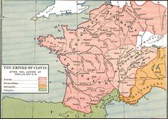 The Empire of Clovis after the victory at Vouillé, AD 507. In 500 Clovis fought a battle with the Burgundian kingdom at Dijon but was unable to subdue them. He gained the support of the Alans, Gallo Romans & Britons in the following years, who helped him defeat the Visigothic kingdom of Toulouse in the Battle of Vouillé. The battle added most of Aquitaine to his kingdom. According to Gregory of Tours, the Byzantine Emperor Anastasius I granted Clovis the title of consul.