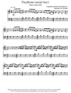 Payphone - Maroon 5 (easy key). Find more free piano sheet music at www.PianoBragSongs.com.