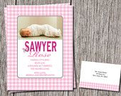 Fun Personalized Gingham Baby Announcement with matching thank you cards and envelopes. Love Gingham? You will love this! https://www.etsy.com/shop/DesignsByDanaV designsbydanav@gmail.com