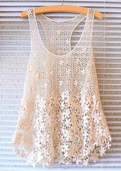 Sweet U-Neck Sleeveless Solid Color Hollow Out Lace Tank Top For Women