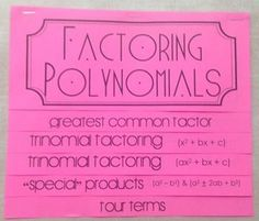 Factoring Polynomials (Foldable)