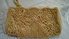 Vintage beaded clutch bag champagne color by RueGenevieveM on Etsy, $17.00