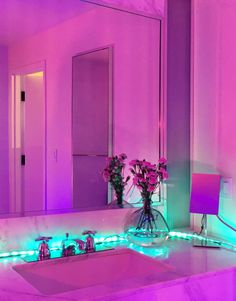 ✔neon room and get your led strip lights 4 Neon Aesthetic, Aesthetic Rooms, Gothic Aesthetic, My New Room, My Room, Neon Rose, Neon Purple, Light Purple, Tout Rose