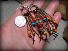 Tribal Earrings Leather Earrings Southwestern by StoneWearDesigns