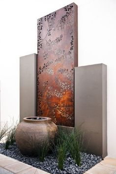 Pots and Planters, Outdoor furniture, Vertical Garden Green wall Systems, Water features and fountains, outdoor screens and sculpture Water Features In The Garden, Garden Features, Garden Art, Garden Design, Metal Garden Wall Art, Metal Garden Screens, Cut Garden, Garden Wall Designs, Garden Walls