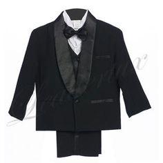 LEADERTUX Leadertux S M L XL 2T 3T 4T Satin Shawl Lapel Baby Infant Toddler Black Formal Wedding Boy Suit Tuxedo Outfit 5pc Set 1