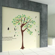 Wall Decals - YYone Wisdom Woman is Like A Tree Quiet and Magnificent Quote Wall Sticker Living Room Decor -