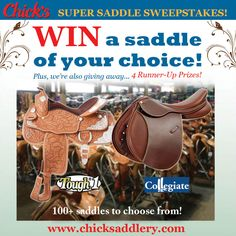 Enter to win any Tough-1 or Collegiate saddle and 4 other great prizes in the Chick's Super Saddle Sweepstakes! Contest ends 6/15/2013. @Chick's Saddlery www.chicksaddlery.com