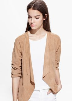 Suede waterfall jacket