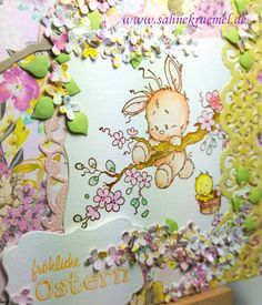 """""""Spring Time""""-Greeting Card with Whimsy Stamps; Framelits """"Label One"""" & """"Köstliche Etiketten"""" Spellbinders; Designerpaper Paper Pad """"Flowers"""" First Edition; Branch and flower die """"Garden Notes -Lilac"""" Elizabeth Craft Designs; Border die Creatables """"LR0386"""" Marianne Design; Sentiment """"Osterei"""" Kulricke; Colored with Twinklings H2O"""