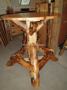 Aspen Log Pub Table Old Farm Amish Furniture - Dayton, PA (814) 257-8911 oldfarmfurniture@aol.com Visit our Facebook Page