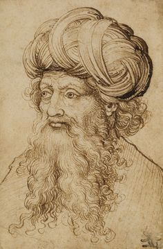 Attr. to a follower of Martin Schongauer (c.1448-91): A head of a man wearing a turban | The Royal Collection