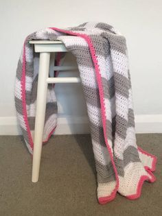 Chevron Blanket/Baby/Crochet/bedding/throw/Baby shower/afghan/Grey/White/Pink/Cot/Cotbed/pram/monochrome/car seat/stroller/buggy/zigzag by StrawberryAndTink on Etsy https://www.etsy.com/uk/listing/508461006/chevron