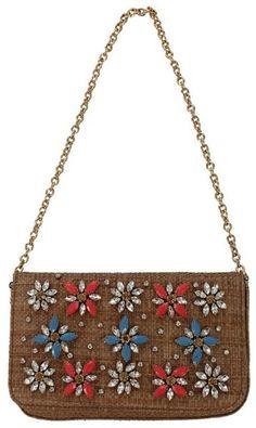 Dolce & Gabbana Brown Straw Embroidered Shoulder Bag