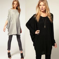 """""""Chic Series"""" Bat-wing Sleeve Loose Oversize Knit Top T-shirt"""