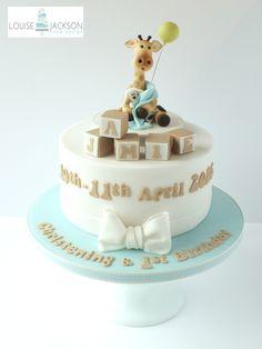 Baby giraffe christening cake with keepsake topper, building blocks and sugar bow