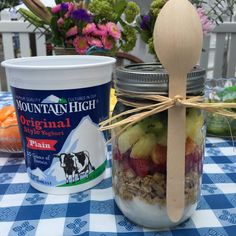 Rainbow Fruit Yoghurt Parfait with @MtnHighYoghurt - yummy and beautiful presentation!