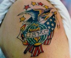 Marine Corps Tattoos: Patriotic Design Marine Corps Tattoo ~ tattoosartdesigns.com Tattoo Ideas Inspiration