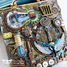Finnabair: New Life For A Note Box by Linda DT step by step tutorialMixed-media art, art journaling and scrapbooking by polish artist and teacher Anna Dabrowska aka Finnabair.added 2 coats of Heavy White Gesso with a foam square. Arte Steampunk, Steampunk Crafts, Altered Canvas, Altered Art, Mixed Media Collage, Mixed Media Canvas, Art Journaling, Cuadros Diy, Found Object Art