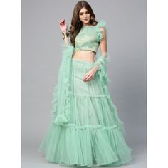 Buy Inddus Sea Green & Golden Woven Design Semi-Stitched Lehenga Choli with Dupatta online in India at best price.Dupatta Fabric : Net Occasion : Festive Number of Components : 3 Blouse Fabric : Poly Silk Bottom Pattern Latest Party Wear Gown, Party Wear Dresses, Latest Saree Blouse, Saree Blouse Designs, Indian Wedding Outfits, Indian Outfits, Pakistani Outfits, Bridal Outfits, Long Skirt Top Designs