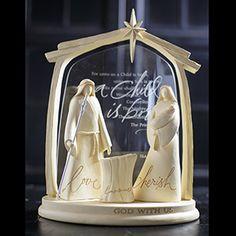 "Holy Family  Mary - Message:cherish 6""T Joseph - Message:love 6 1/2""T Baby Jesus - Message:Emmanuel 1 3/4""L Manger - Message: John 3:16 2""Wx2 1/2""H Stable - 8 1/2""x6""Base, 6 3/4""x 9 1/2""W Acrylic Insert, 10 3/4"" Frame. Price: $96.00"