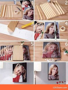 One of the neat home decoration ideas: DIY your own family 3D photo frames. Even though we can't find the original source of this instructions, you can try it at home step by step. All you need are some triangle wood frame, glue, and one of your lovely family member photos. via imgur.com.