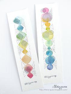 Marque Pages Peinture Aquarelle Originale Losange Géométrique Abstrait Pastel Multicolore Arc en Ciel/Ensemble de 2 Marque Pages