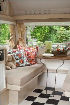 Gypsy Interior Design Dress My Wagon| Serafini Amelia| Travel Trailer| Design Inspiration| Flooring ideas for vintage caravans