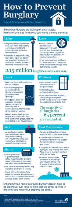 Prevent Home Burglary-These burglary prevention tips – like installing a home alarm system, adding outdoor lighting and choosing the right locks – can help you prevent home burglary. shattergard Security Glass Film. This makes it more difficult to break glass. It can even stop bullets under certain circumstances. And after a would be burglar fails to get through a window that just won't break, they may give up and go elsewhere.