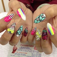Another crazy ensemble nail art on stiletto shape