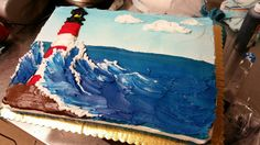 Painterly lighthouse cake. I made this for a desperate daughter for her mother who is from Cape Cod and loves lighthouses. Half sheet chocolate with buttercream. 2015 by Summer Witt