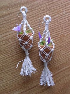 Macrame Plant Holder Earrings with Purple Fowers by KuhaKreations, $25.00