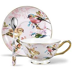 Panbado 3 Piece Porcelain Gold Rimmed Bone China Tea Cup Saucer Set With Spoon Teacup Coffee, Flower and Birds, 200ml, 6.8 oz., Pink