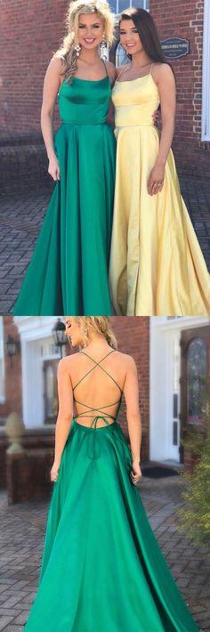 Yellow Prom Dresses Long, Green Prom Dresses With Slit, A Line Prom Dresses Open Back, Senior Prom Dresses Satin Modest Formal Dresses, Elegant Prom Dresses, Formal Evening Dresses, Trendy Dresses, Nice Dresses, Formal Gowns, Senior Prom Dresses, Straps Prom Dresses, Prom Dresses For Teens