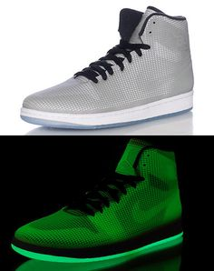 58af7937f8ff17 JORDAN High top men s sneaker Lace closure Clear GLOW IN THE DARK mesh  overlay Reflective leather un.