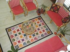 Quilt pattern handpainted on a floorcloth Painted Floor Cloths, Indian English, Early American, French Country, Contemporary Design, Quilt Patterns, Barn, Hand Painted, Flooring