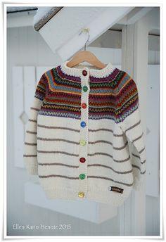 Striped cardigan with colorwork yoke. This is a child's version of Kristin Wiola Ødegård's Retrojakke med raglanermer. Fair Isle Pattern, Striped Cardigan, Barn, Babies, Knitting, Children, People, Sweaters, Fashion