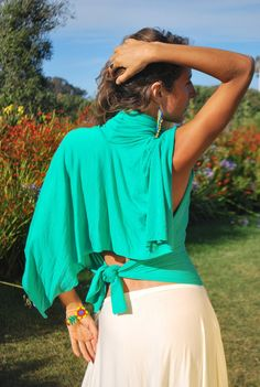 """Beautiful torquoise poncho """"Magic"""" shirt is perfect for travel, beach wear"""
