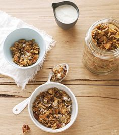 Homemade Granola with Coconut and Sprouted Nuts ~ this would make a good snack.  Probably a little heavy for cereal, but maybe that too.  Coconut sugar or stevia instead of brown rice syrup.