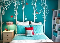 turquoise bedroom for teens (Turquoise Room Decorations) Bedroom decor ideas - Tags: turquoise bedroom decor, turquoise living room decor, turquoise room ideas, turquoise room ideas teenage Cool Teen Bedrooms, Teenage Girl Bedrooms, Teenage Room, Small Bedrooms, Girl Rooms, Trendy Bedroom, Bedroom Modern, Modern Wall, Small Room Bedroom