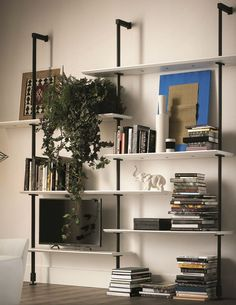 Wall-mounted sectional #bookcase AIRPORT by Cattelan Italia | #design Giorgio Cattelan Large Bookshelves, Open Bookcase, Walnut Shelves, Modern Office Decor, Muebles Living, Italia Design, Modular Walls, Living Spaces, Living Room