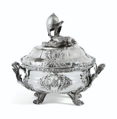 AN EXCEPTIONAL FRENCH ROYAL SILVER TUREEN AND COVER, THE COVER FROM THE PENTHIÈVRE-ORLÉANS SERVICE, ANTOINE SÉBASTIEN DURANT, PARIS, 1750-1751, THE BODY AND LINER, JEAN-BAPTISTE CLAUDE ODIOT, PARIS, 1819-1826, THE HEATER AND HEATER COVER, CHARLES-NICOLAS ODIOT, PARIS 1826-1838