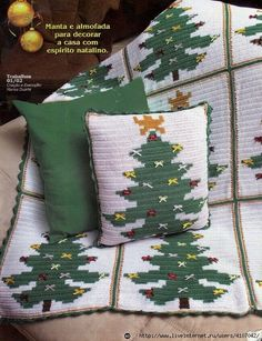 Crochet and knitting from Irina Lilac: Crochet for the New Year Crochet Pillow Patterns Free, Crochet Square Patterns, Christmas Crochet Patterns, Holiday Crochet, Crochet Gifts, Christmas Afghan, Christmas Cushions, Christmas Knitting, Christmas Tree