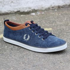 Fred Perry Hallam Printed Canvas Shoe (Carbon Blue) #fredperry #hallam #footwear #newentrystore
