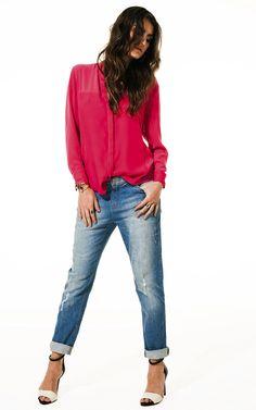 Lookbook Raizz Primavera-Verão 14 - Camisa Pink. Jeans boyfriend com puídos